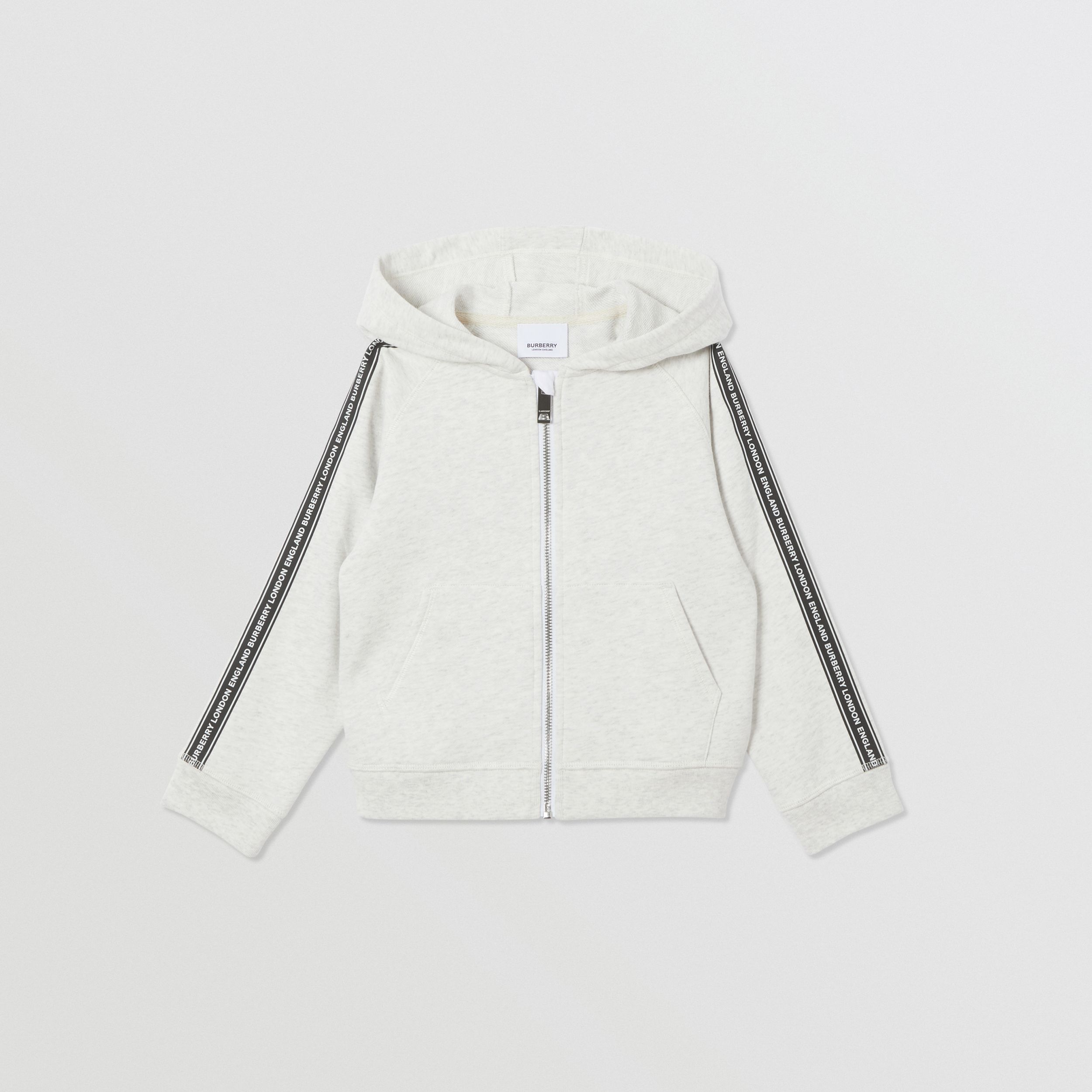 Logo Tape Cotton Hooded Top in White Melange | Burberry - 1