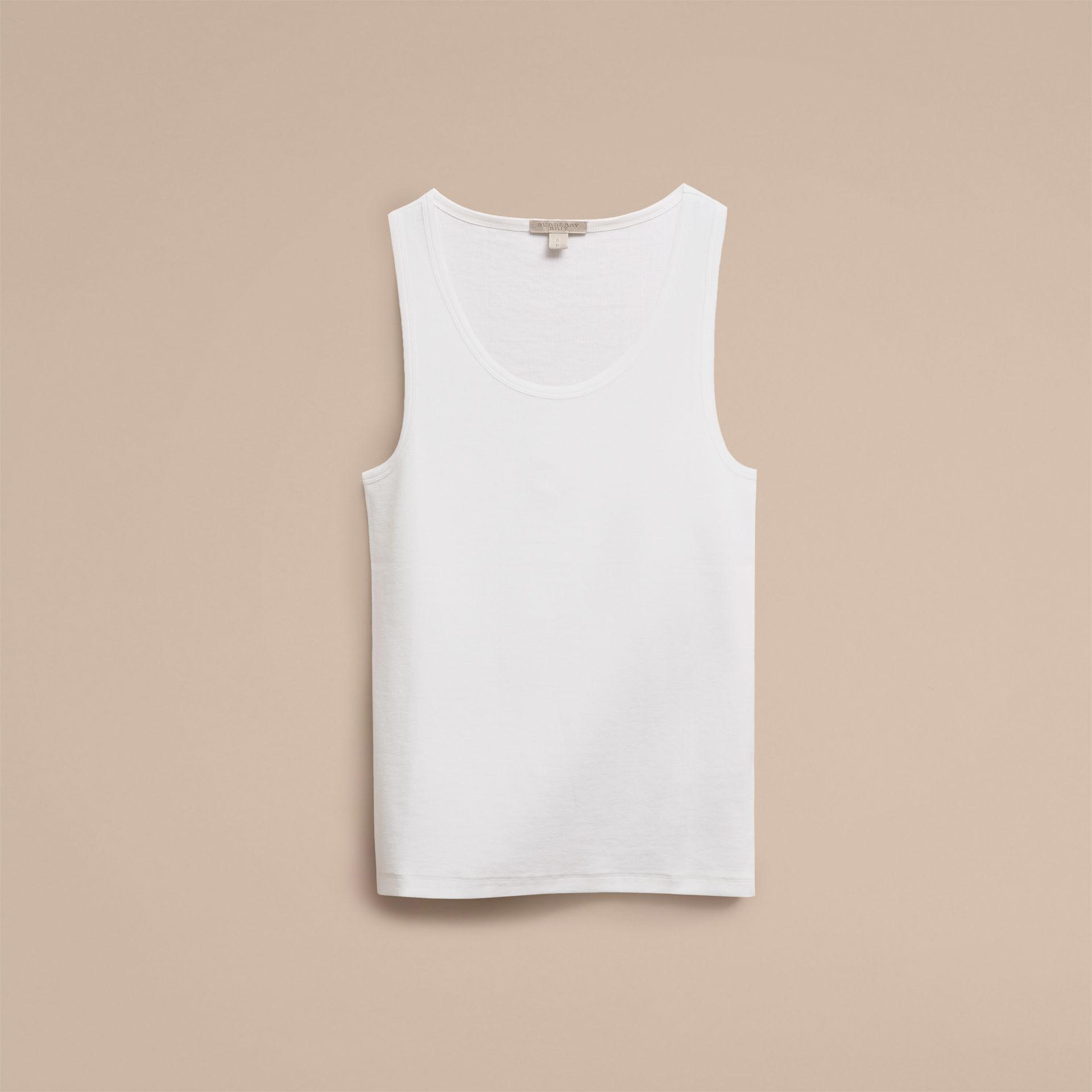 White Stretch Cotton Lyocell Vest - gallery image 2
