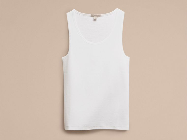 White Stretch Cotton Lyocell Vest - cell image 1
