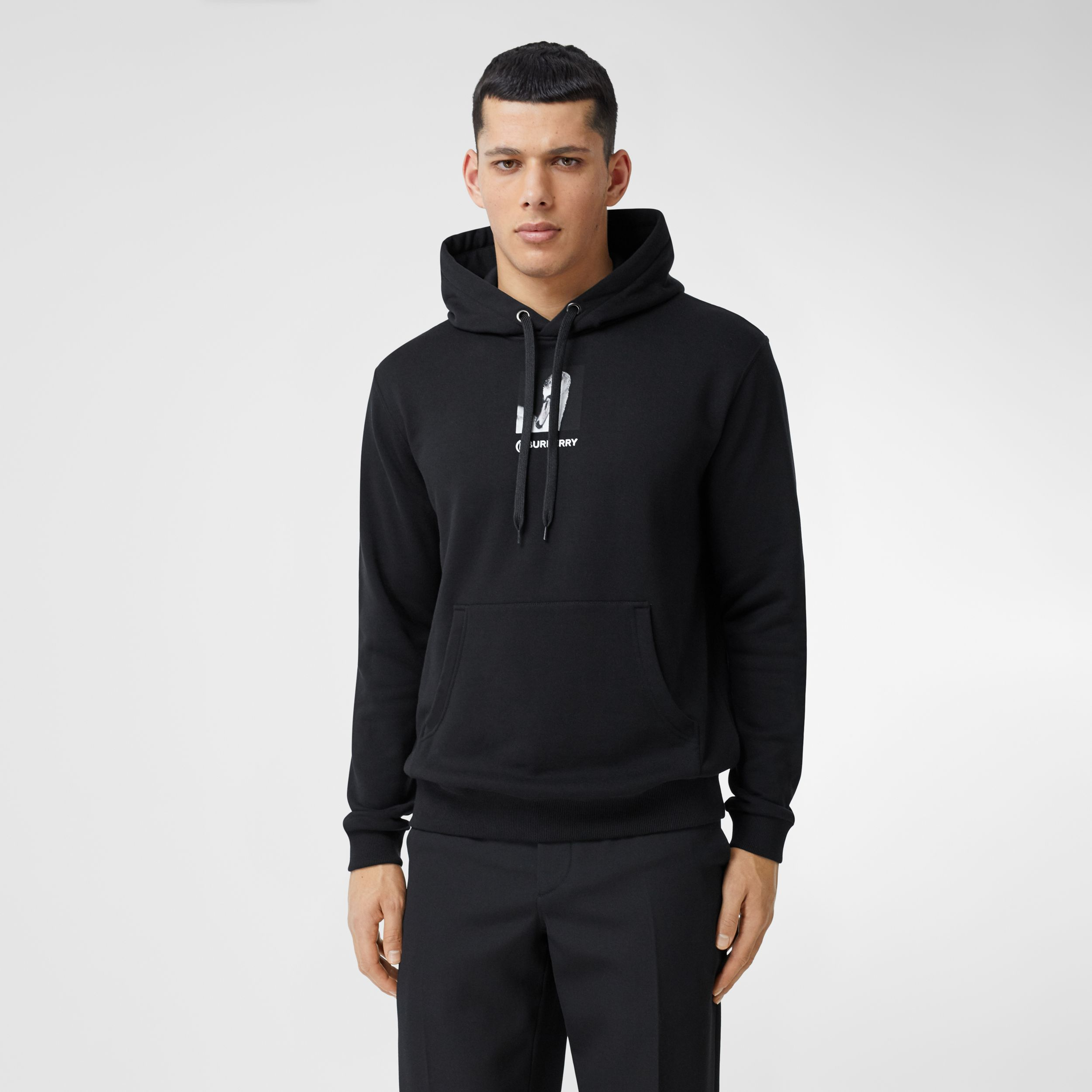 Montage Print Cotton Hoodie in Black - Men | Burberry - 1