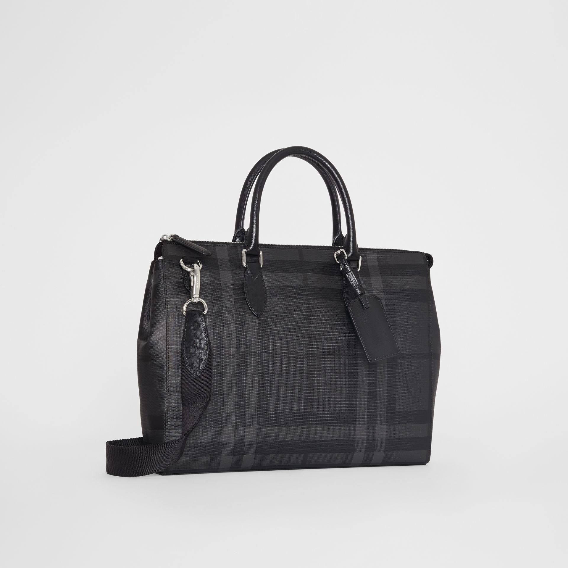 Large London Check Briefcase in Charcoal/black - Men | Burberry - gallery image 4