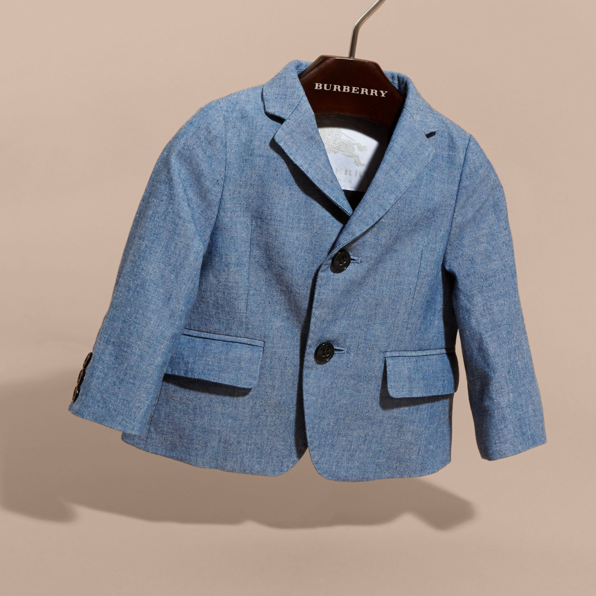 Chambray Cotton Blazer in Stone Blue | Burberry - gallery image 3