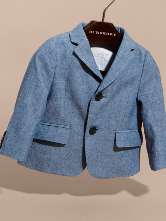 Chambray Cotton Blazer in Stone Blue | Burberry - cell image 2