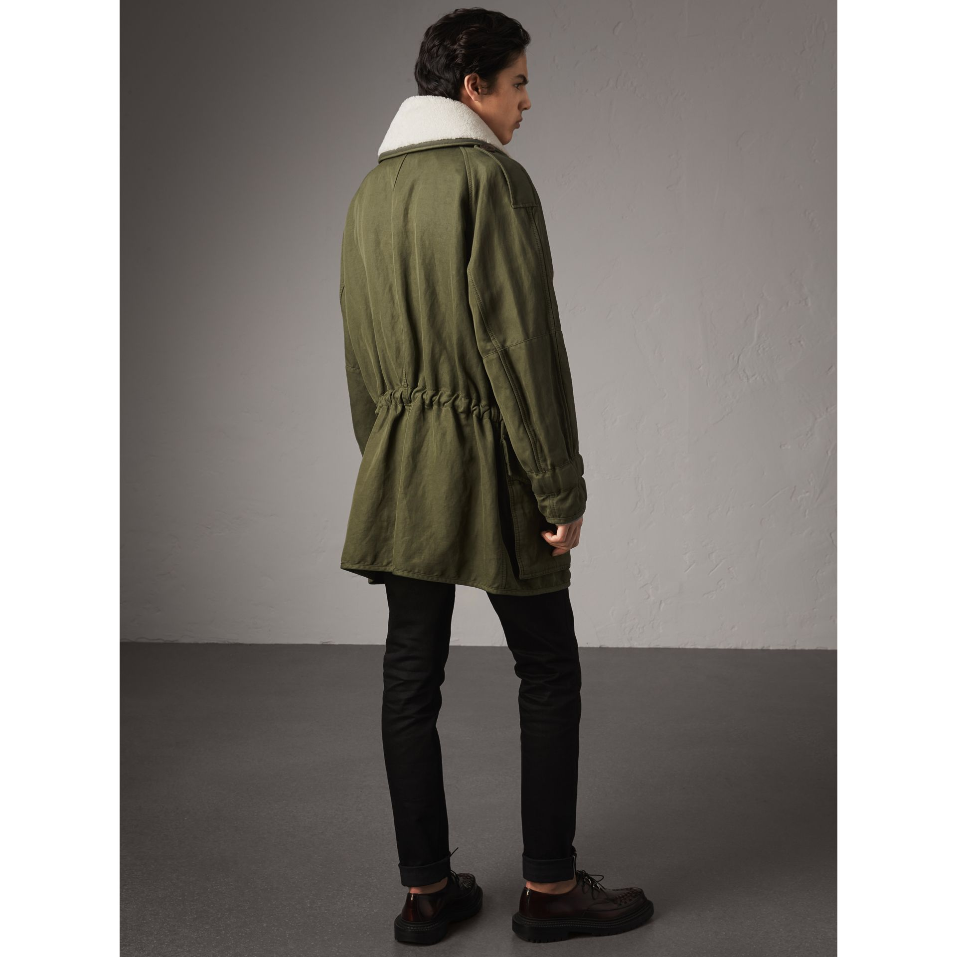 Shearling Collar Ramie Cotton Field Jacket in Olive - Men | Burberry - gallery image 2
