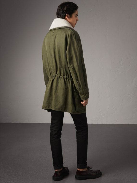 Shearling Collar Ramie Cotton Field Jacket in Olive - Men | Burberry Australia - cell image 2