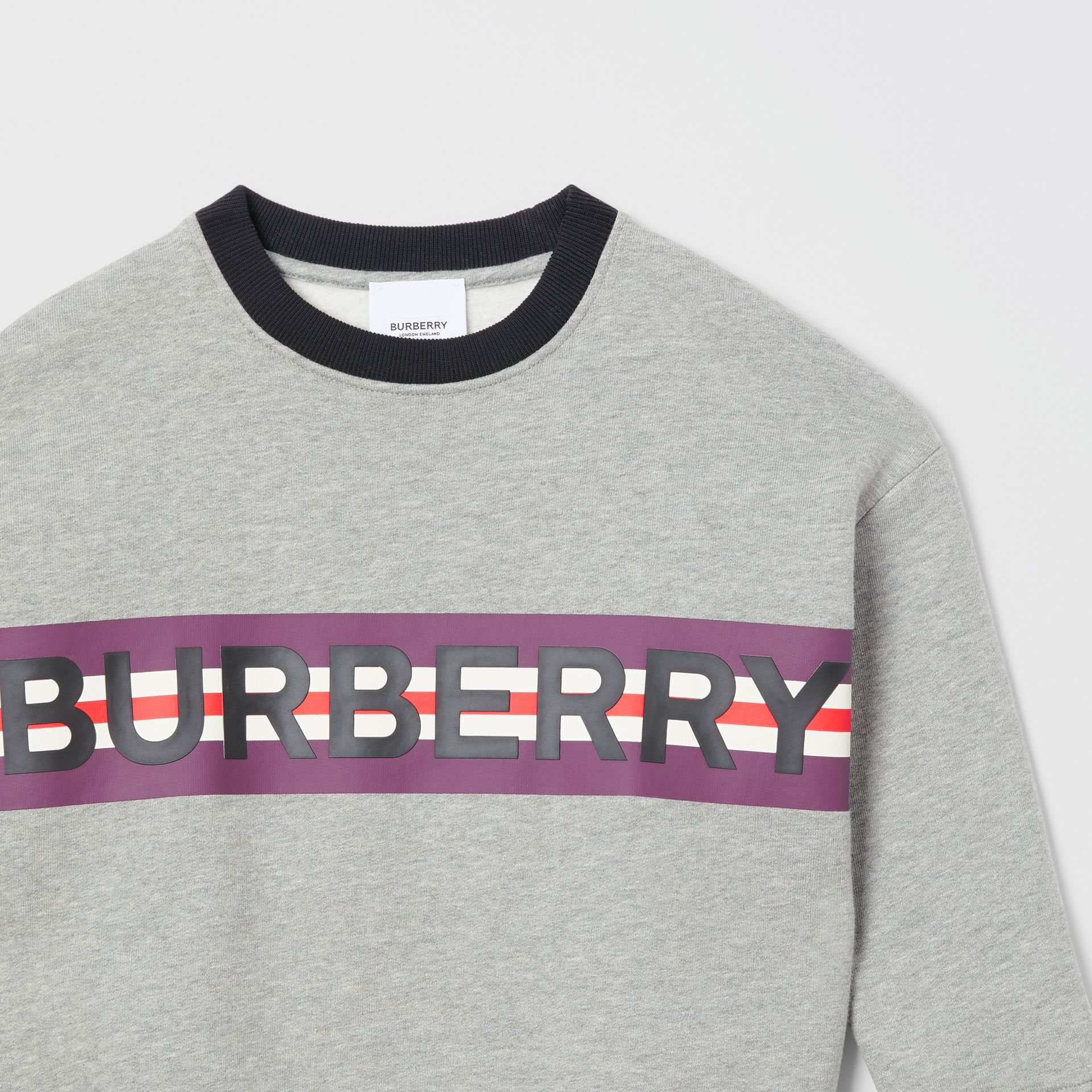 Logo Print Jersey Sweatshirt in Grey Melange | Burberry United Kingdom - gallery image 5