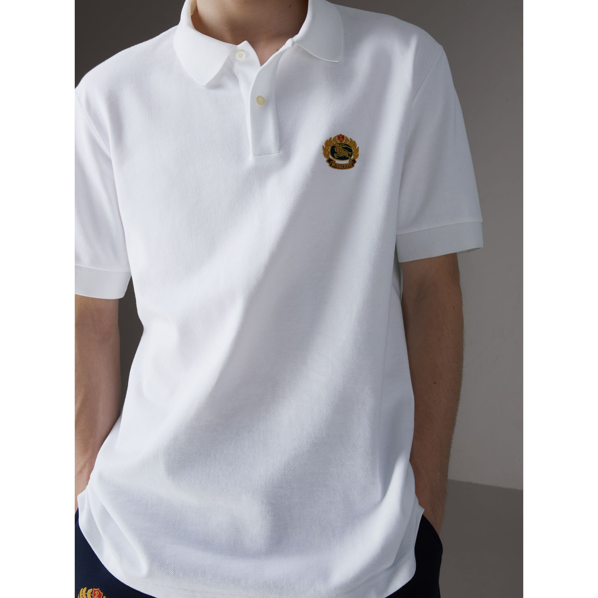 Reissued Cotton Polo Shirt in White - Men | Burberry Hong Kong - gallery image 1