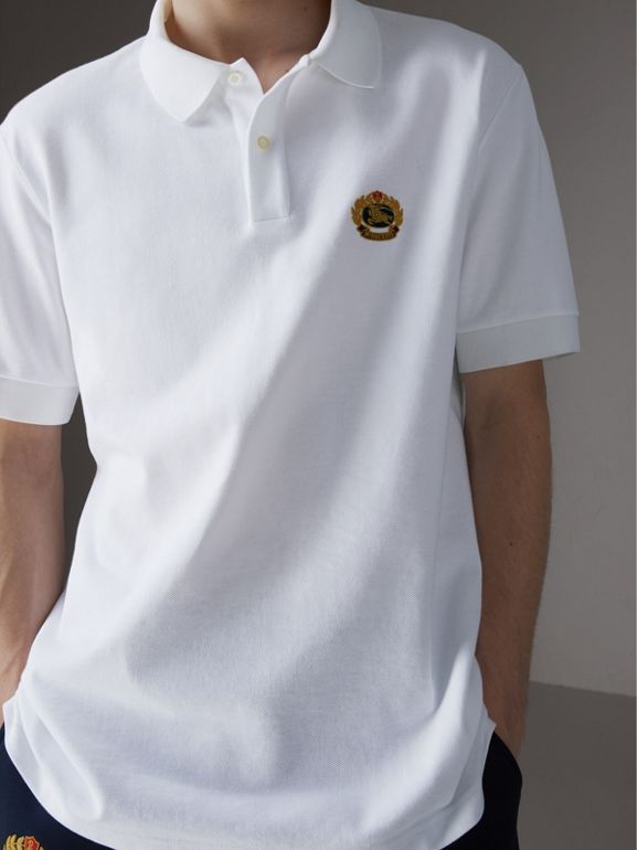 Reissued Cotton Polo Shirt in White - Men | Burberry Singapore - cell image 1