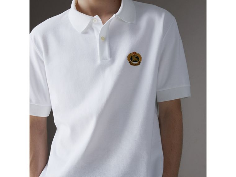 Reissued Cotton Polo Shirt in White - Men | Burberry Hong Kong - cell image 1