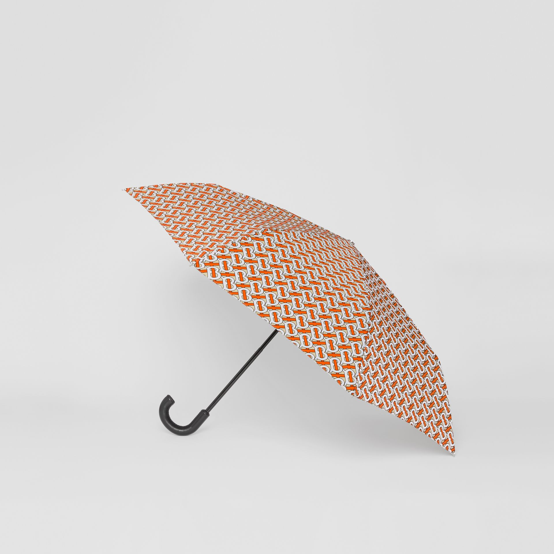 Monogram Print Folding Umbrella in Vermillion | Burberry - gallery image 3