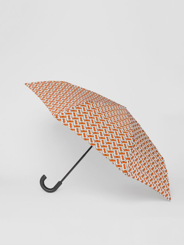 Monogram Print Folding Umbrella in Vermillion | Burberry - cell image 3