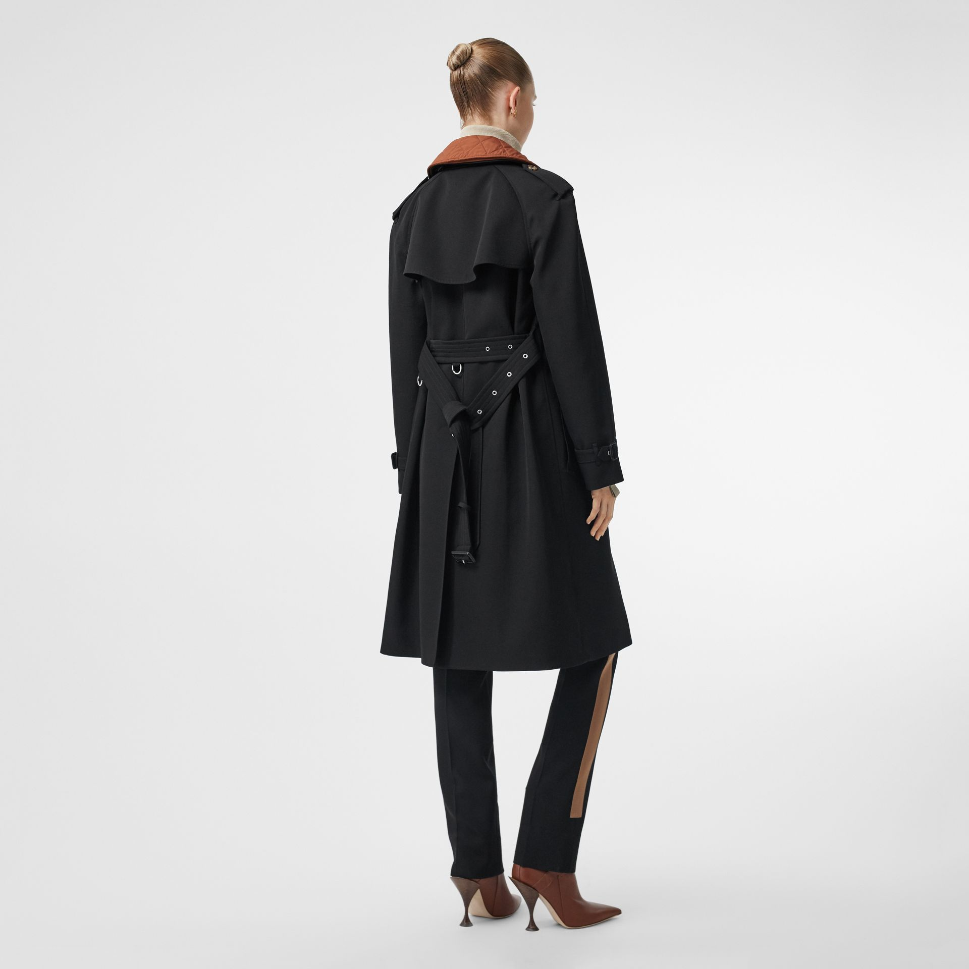 Wool Gabardine Trench Coat with Detachable Warmer in Black - Women | Burberry - gallery image 2