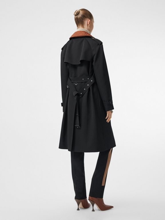 Wool Gabardine Trench Coat with Detachable Warmer in Black - Women | Burberry - cell image 1