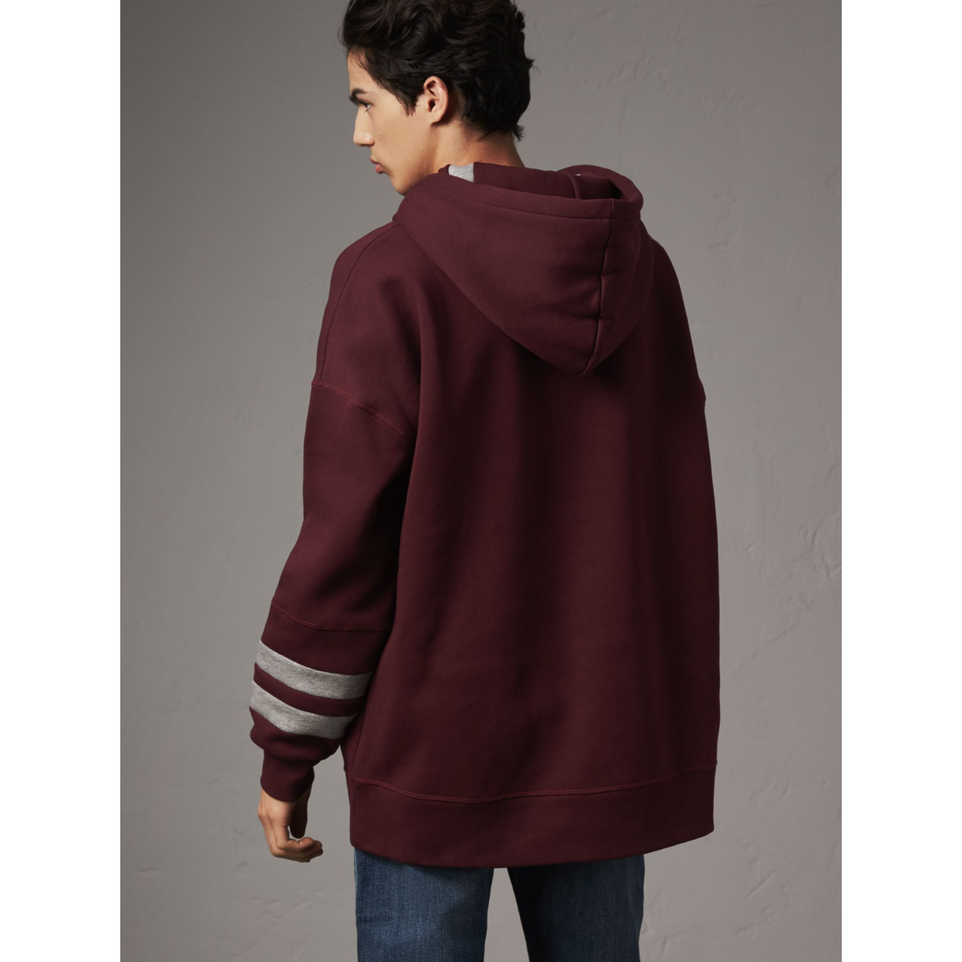 Bold Stripe Detail Oversize Hooded Sweatshirt in Deep Claret - Men | Burberry - gallery image 3