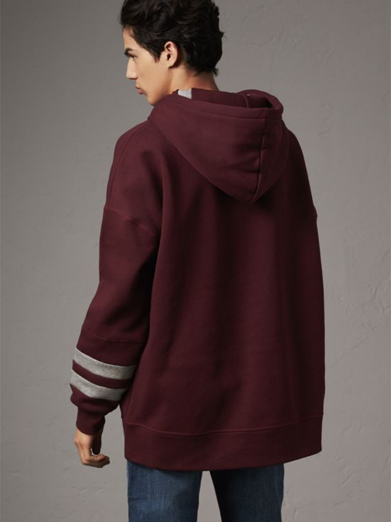 Bold Stripe Detail Oversize Hooded Sweatshirt in Deep Claret - Men | Burberry United Kingdom - cell image 2