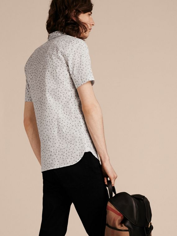 White Short-sleeved Dash Print Cotton Shirt White - cell image 2