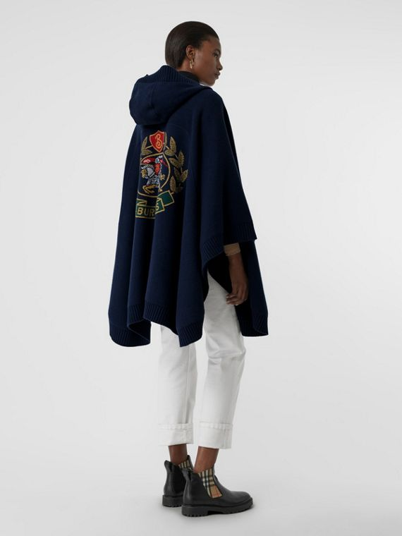 Crest Wool Blend Jacquard Hooded Cape in Navy
