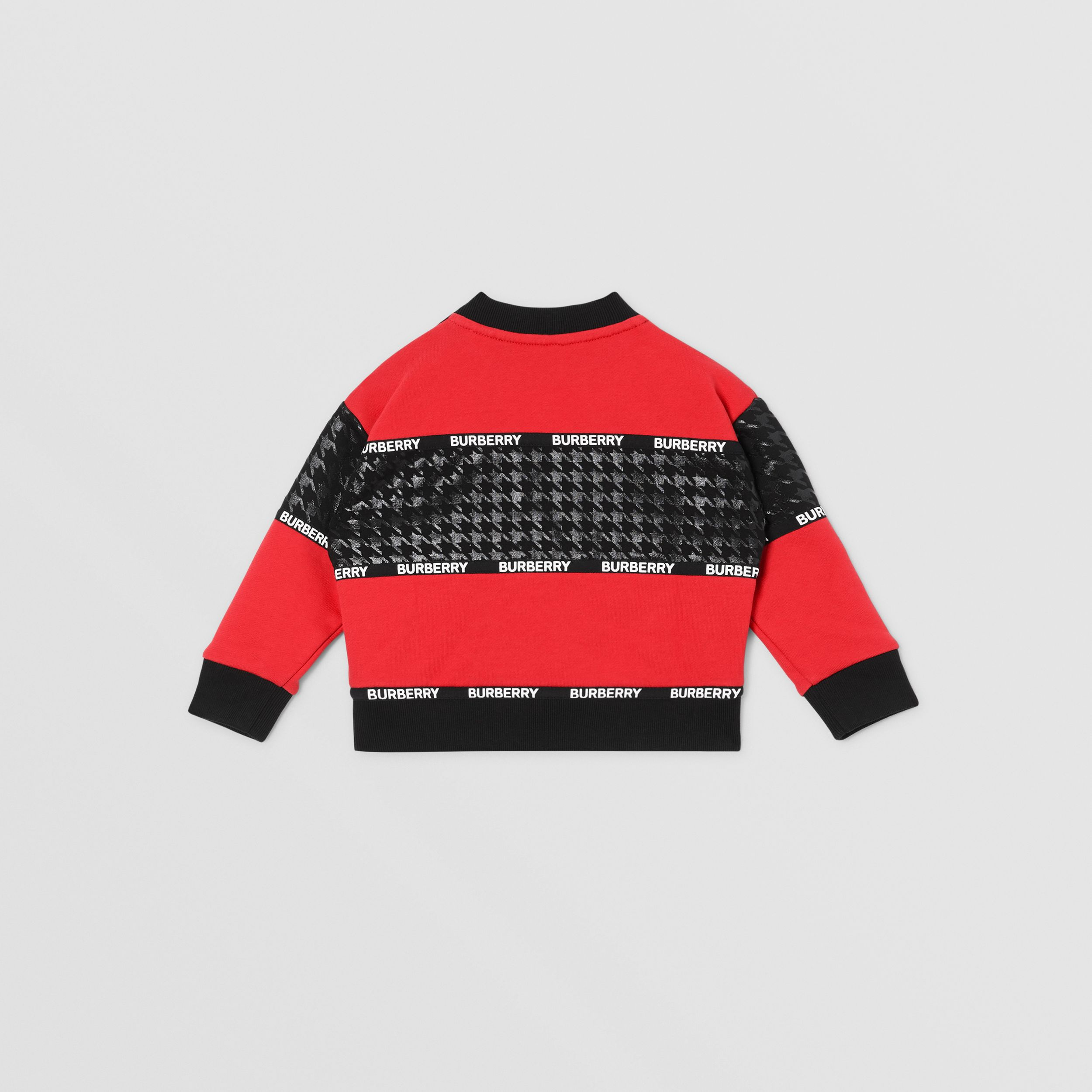Houndstooth Check Panel Cotton Sweatshirt in Bright Red - Children | Burberry - 4