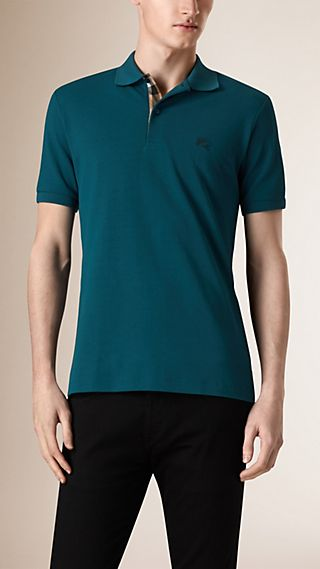 Check Placket Piqué Cotton Polo Shirt