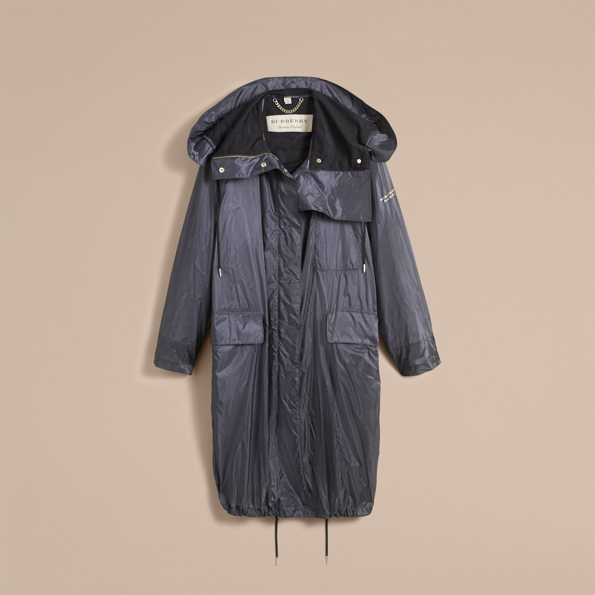 Hooded Lightweight Oversize Parka in Airforce Blue - Women | Burberry - gallery image 4