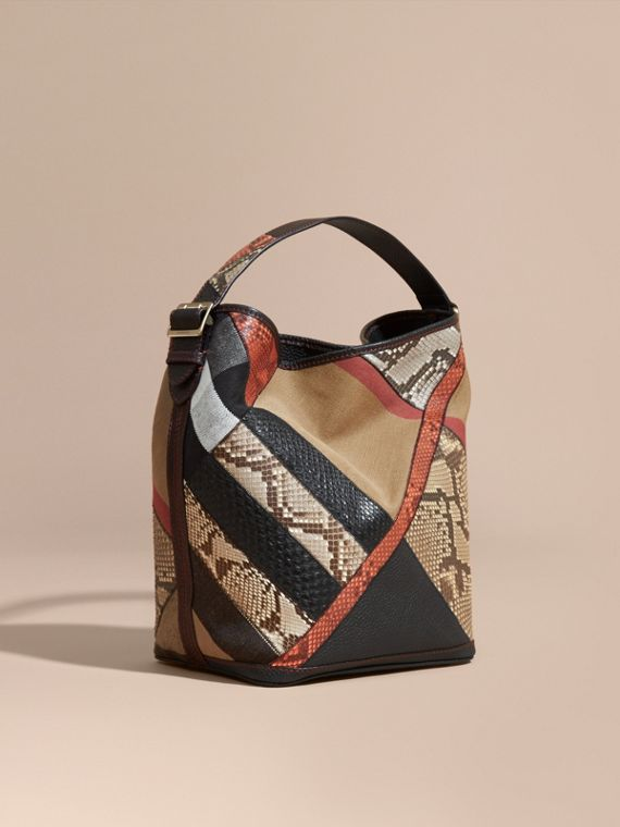 Sac The Ashby medium en toile Canvas check et python façon patchwork - Femme | Burberry