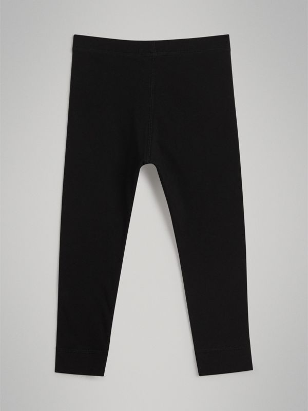 Logo Detail Stretch Cotton Leggings in Black | Burberry United Kingdom - cell image 3