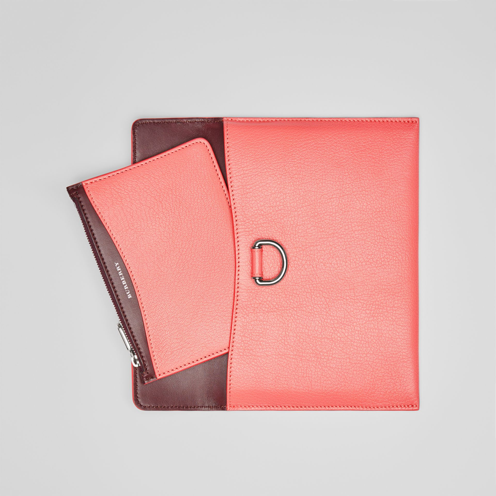 D-ring Leather Pouch with Zip Coin Case in Bright Coral Pink - Women | Burberry - gallery image 6
