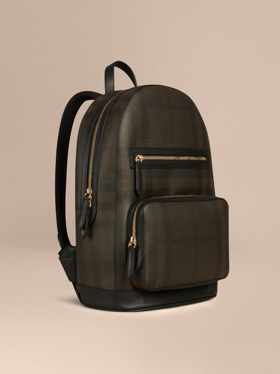 London Check Backpack Chocolate/black