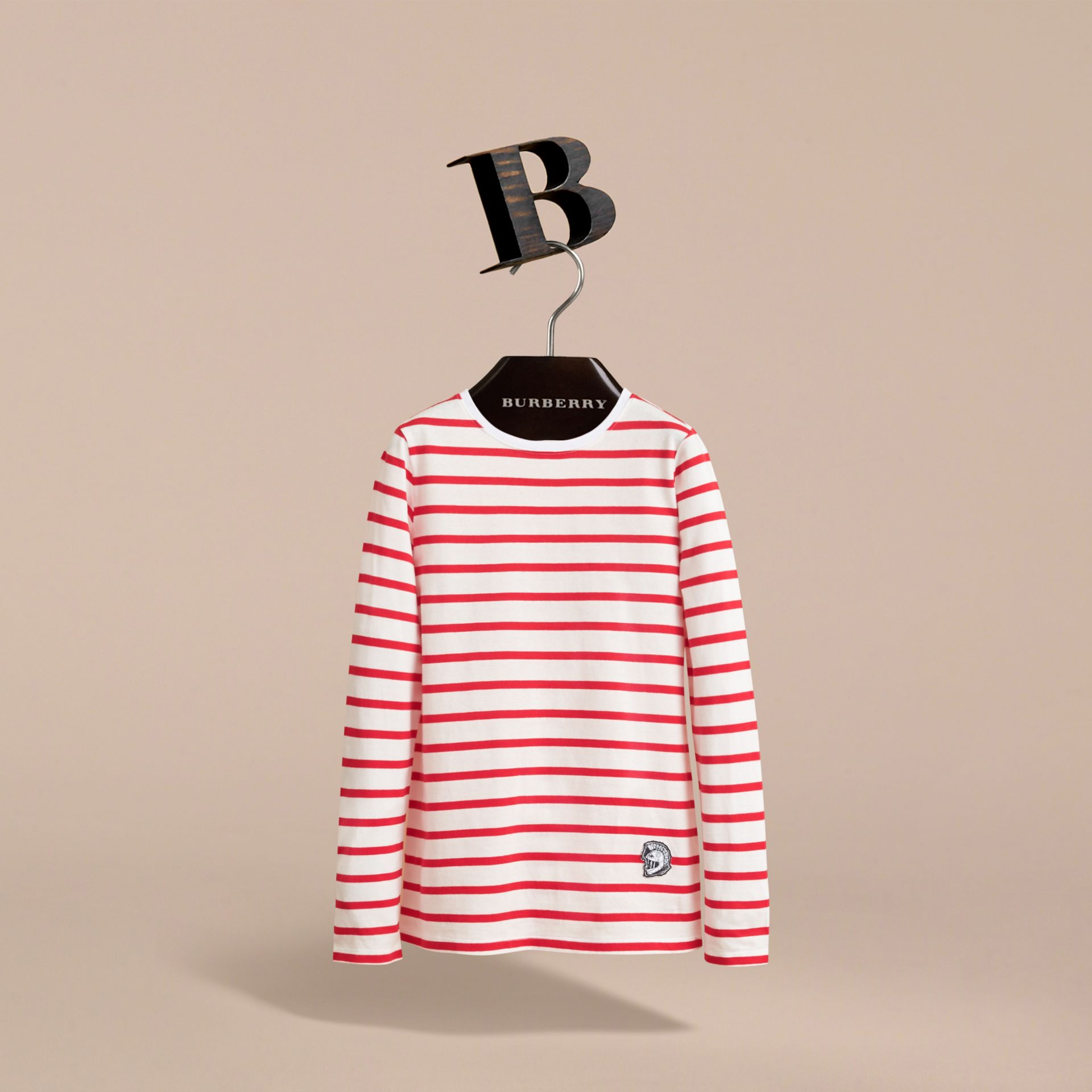 Unisex Pallas Helmet Motif Breton Stripe Cotton Top in Parade Red | Burberry - gallery image 3