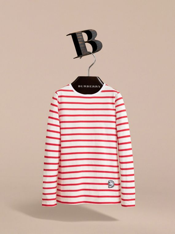 Unisex Pallas Helmet Motif Breton Stripe Cotton Top in Parade Red | Burberry - cell image 2