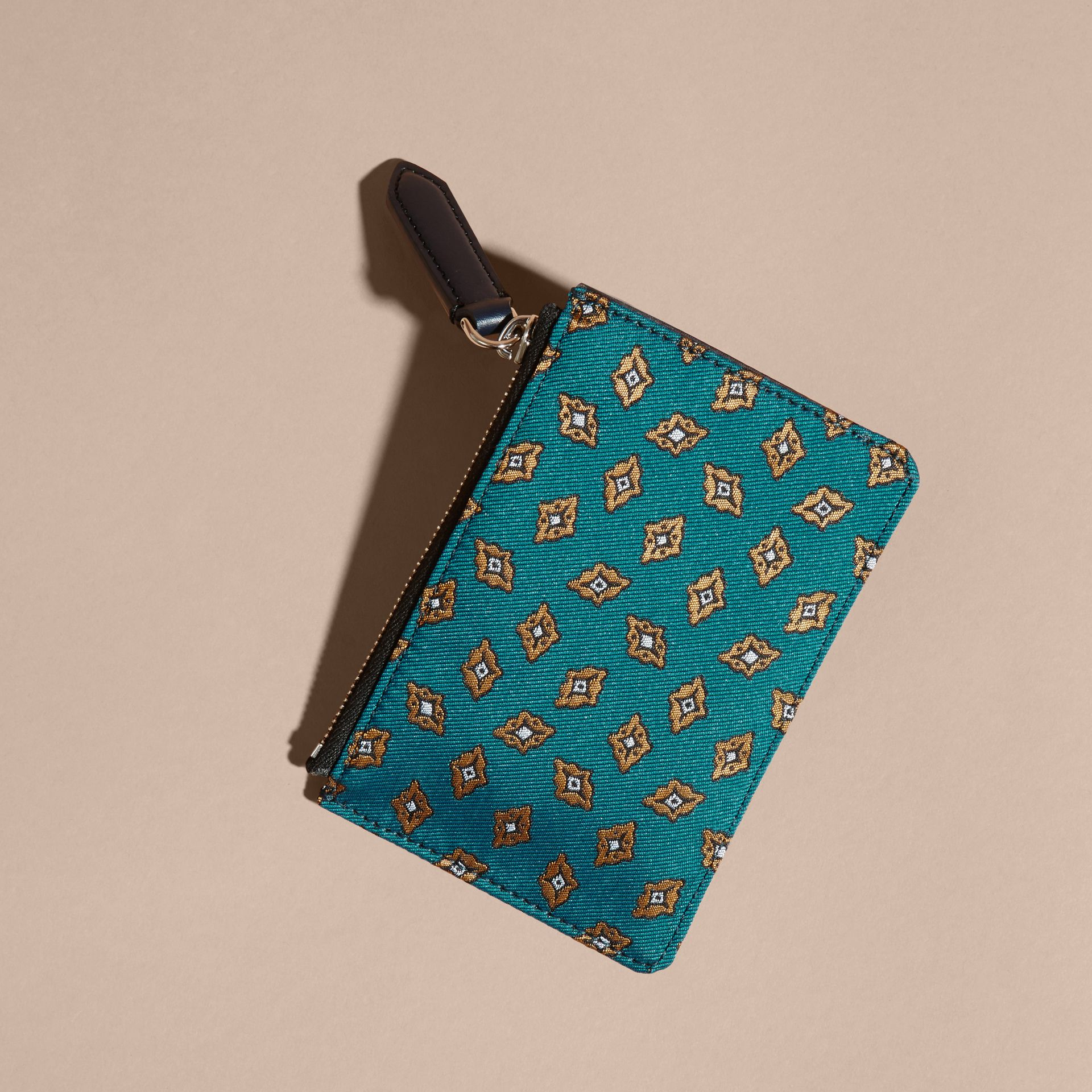 Dark teal Geometric Tile Jacquard Zip-top Wallet Dark Teal - gallery image 4