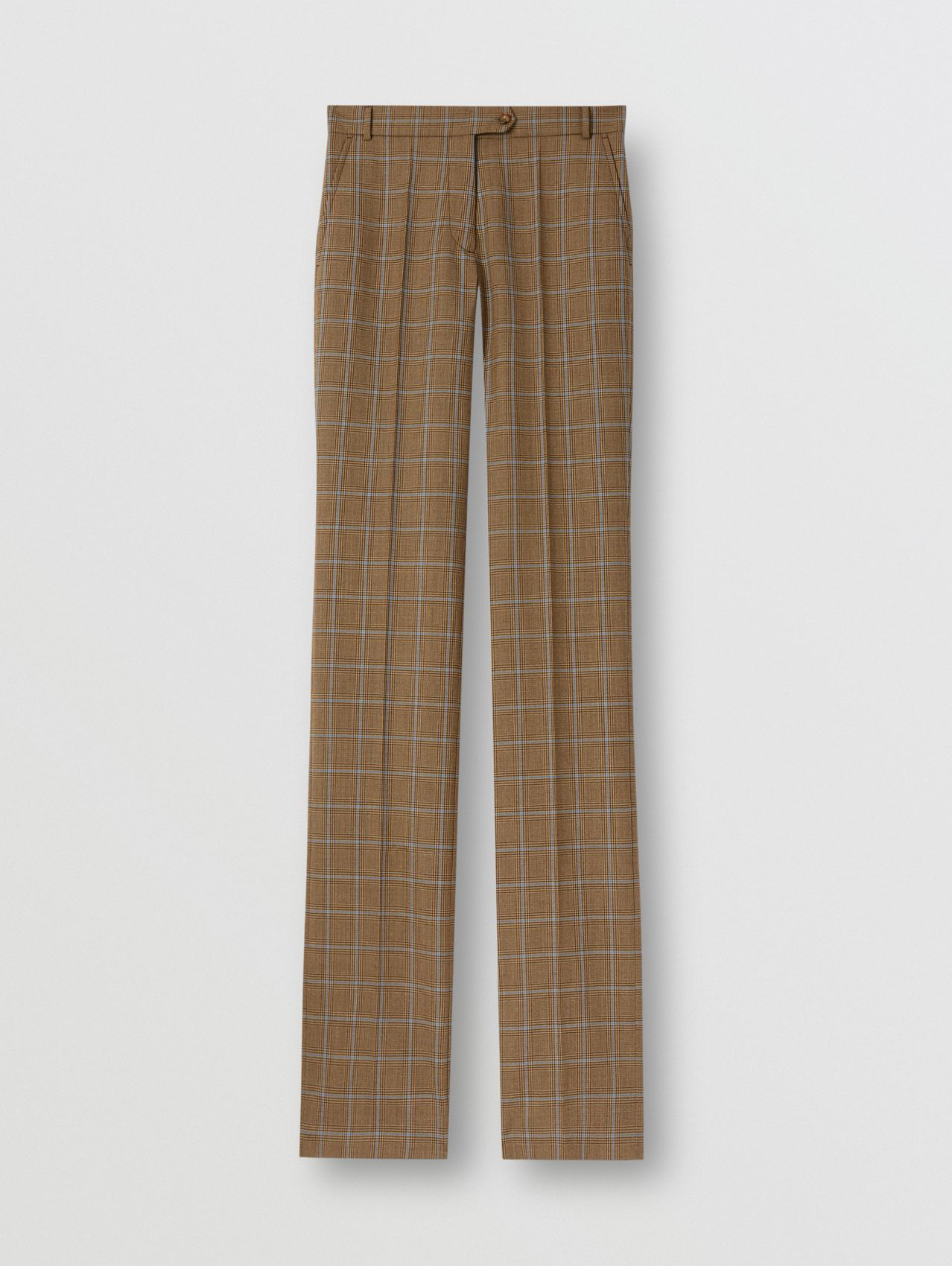 Prince of Wales Check Wool Tailored Trousers in Birch Brown