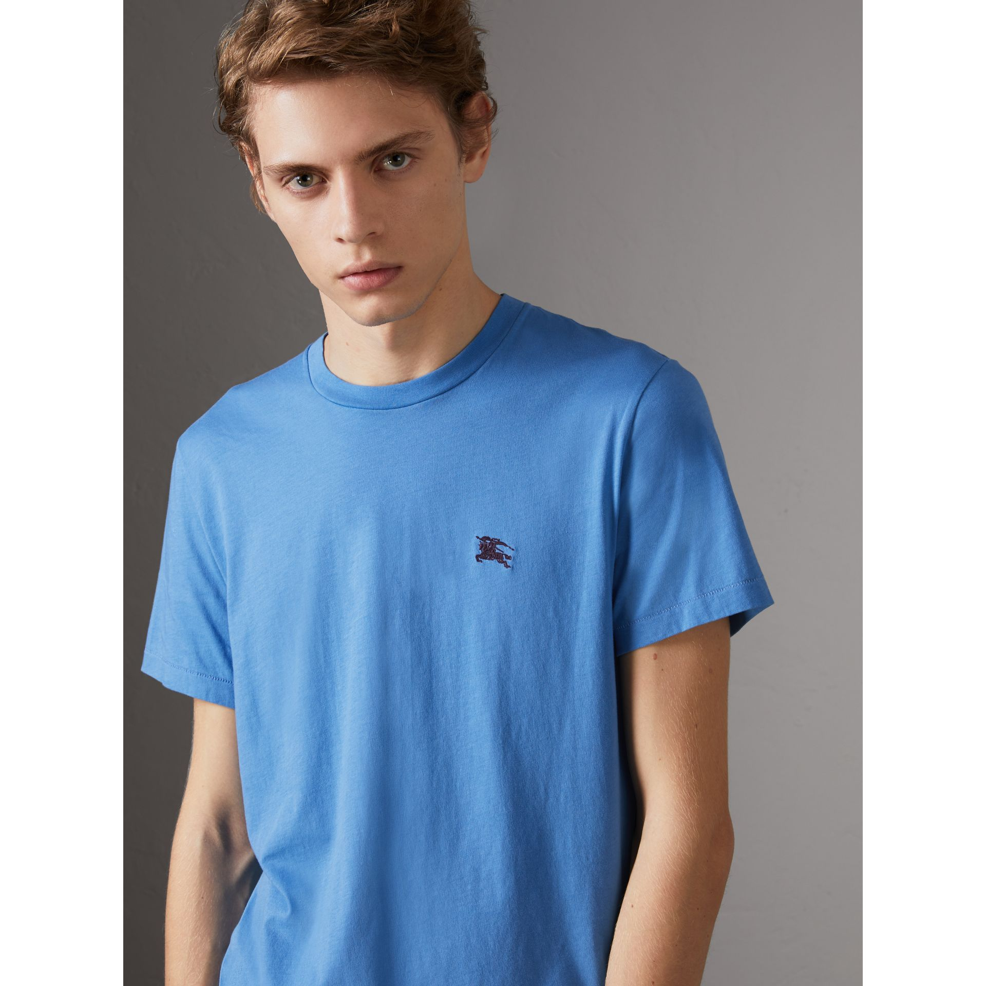 Cotton Jersey T-shirt in Light Azure - Men | Burberry - gallery image 0