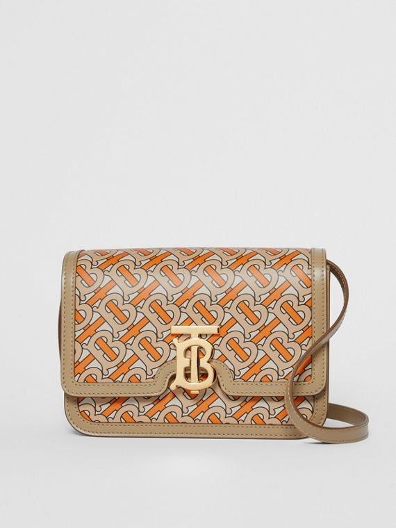 Small Monogram Print Leather TB Bag in Bright Orange