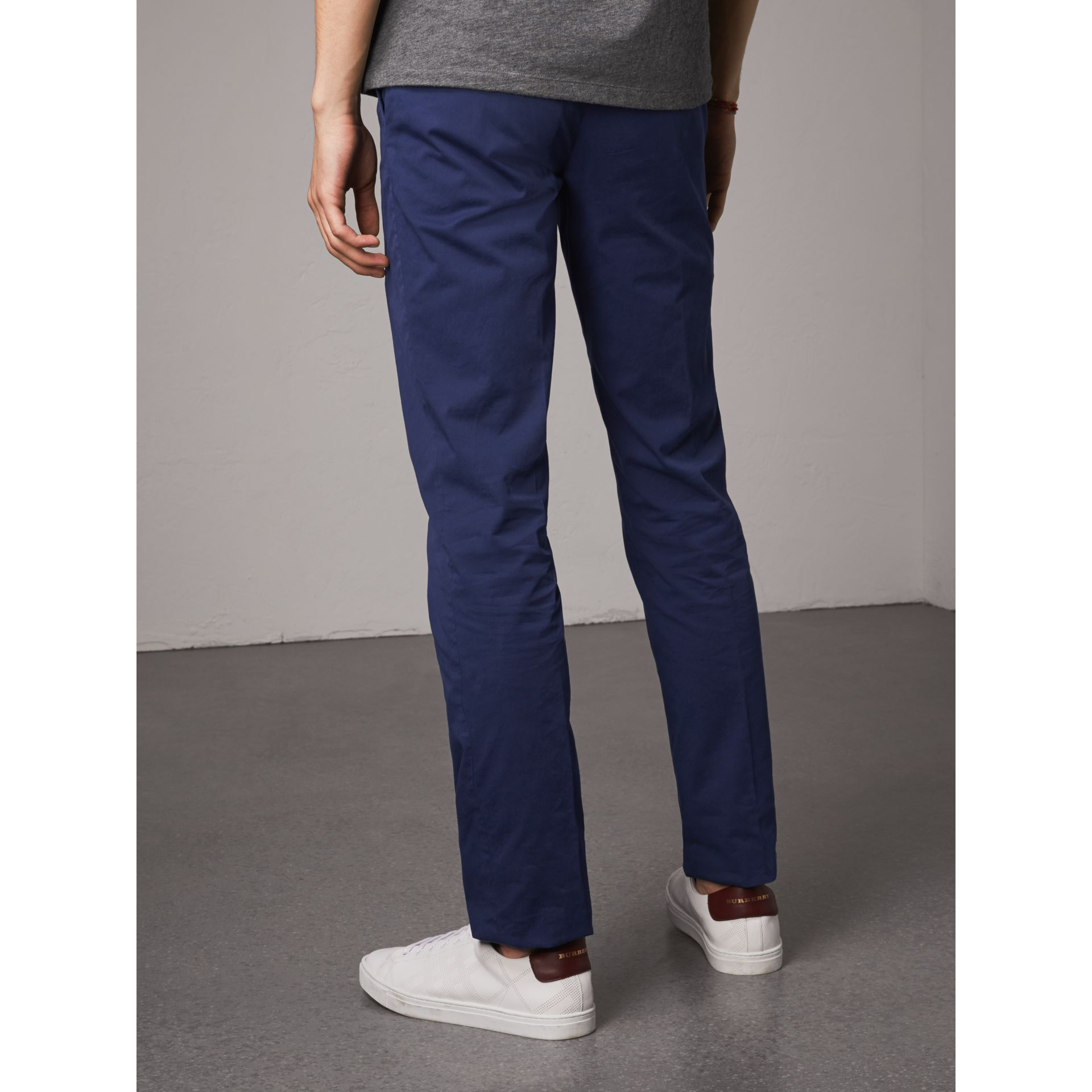 Slim Fit Stretch Cotton Chinos in Bright Navy - Men | Burberry Australia - gallery image 3