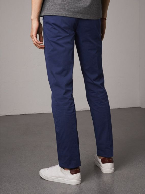 Slim Fit Stretch Cotton Chinos in Bright Navy - Men | Burberry Australia - cell image 2