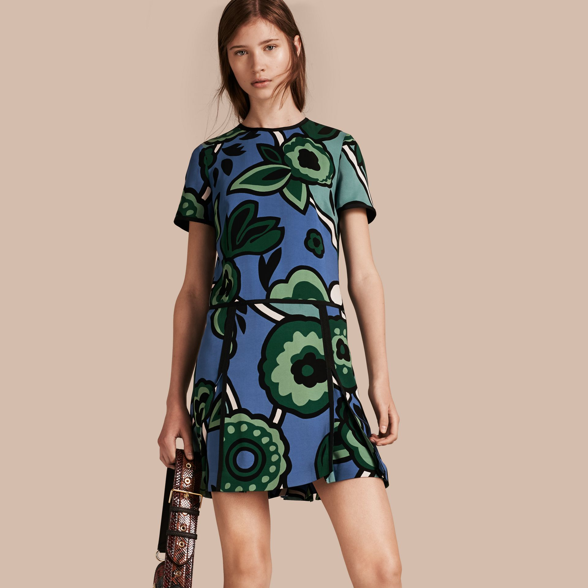 Bright steel blue Graphic Floral Dropped-waist Dress - gallery image 1