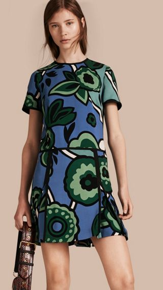 Graphic Floral Dropped-waist Dress