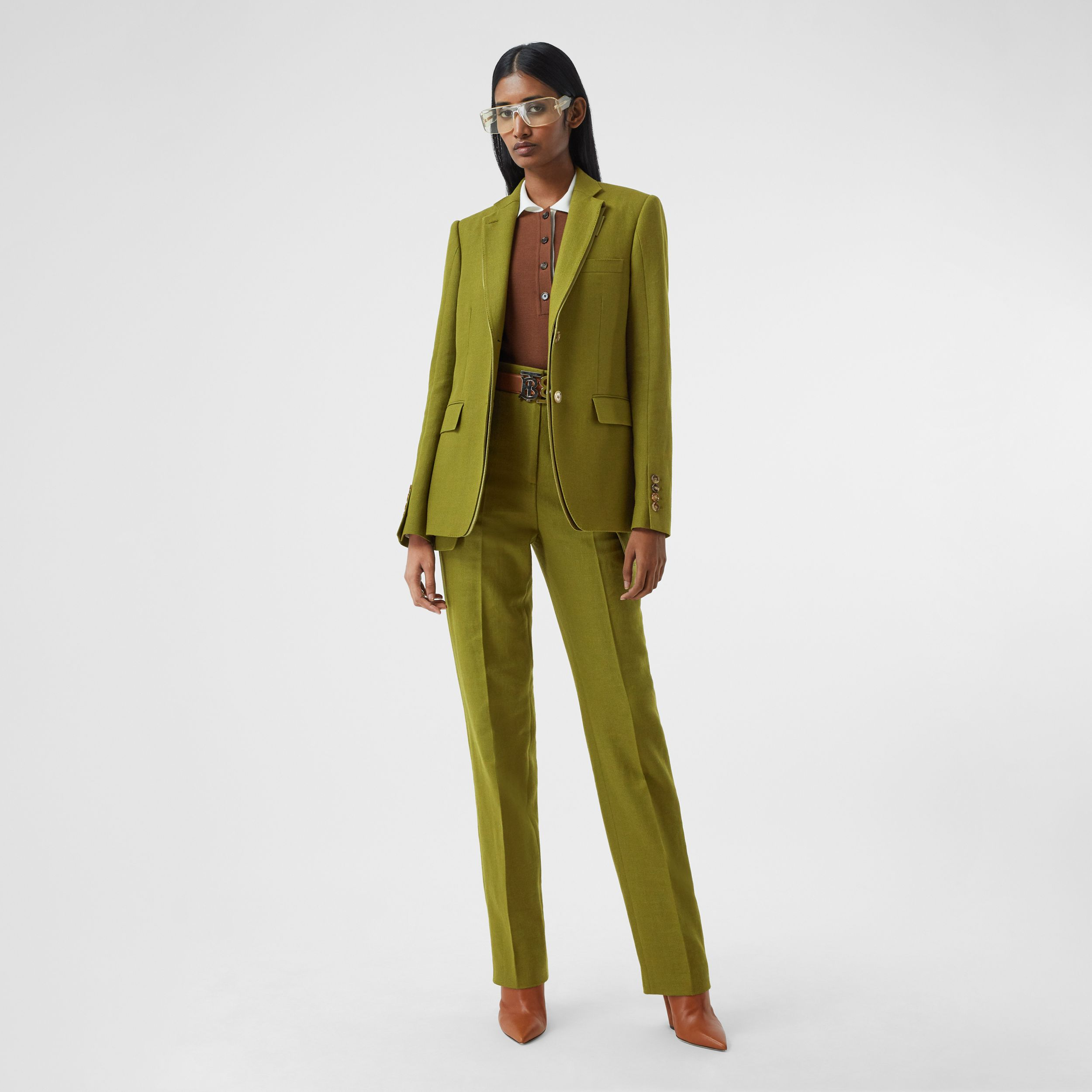 Wool Ramie and Silk Satin Tailored Jacket in Juniper Green - Women | Burberry - 1