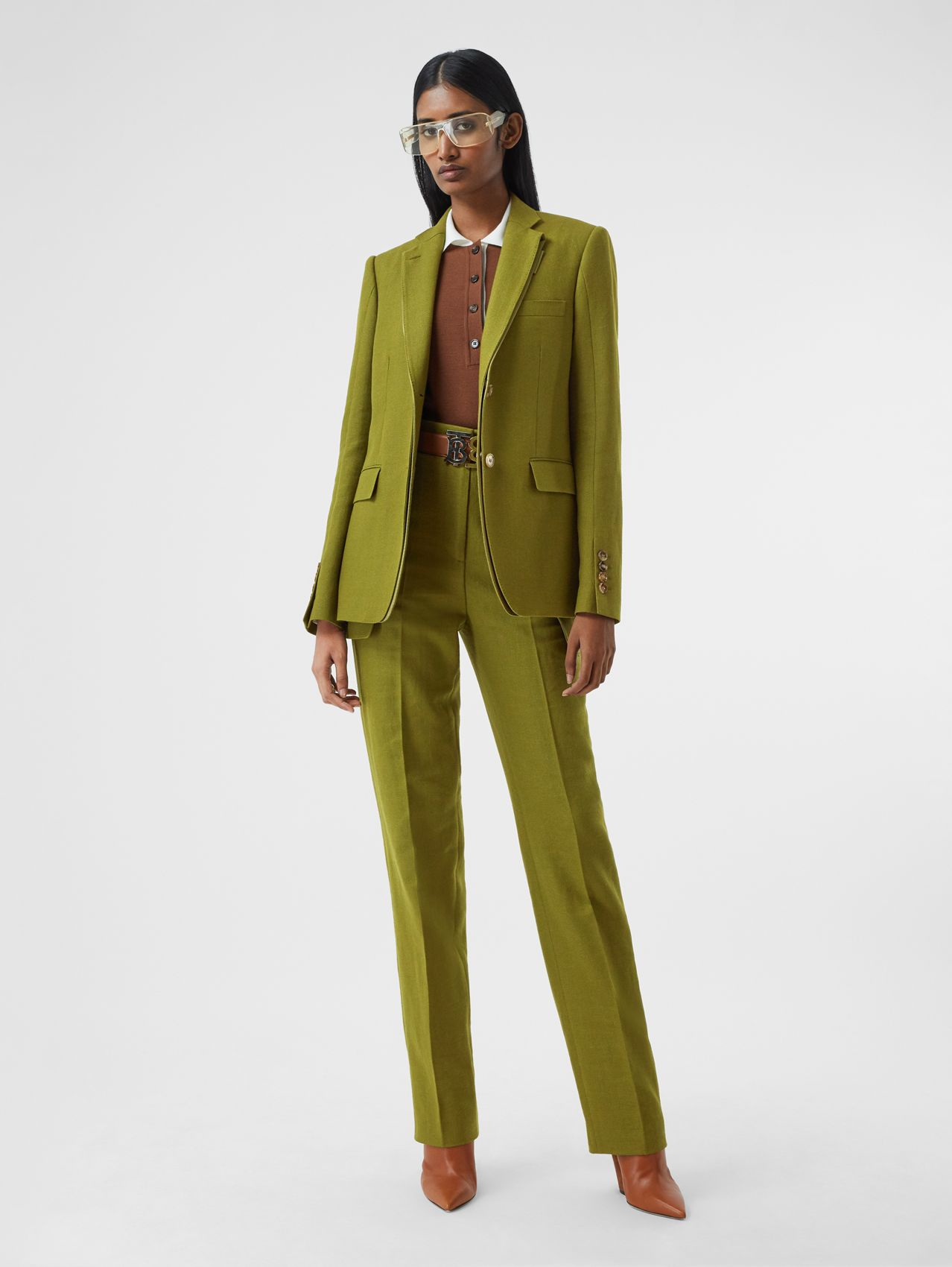 Wool Ramie and Silk Satin Tailored Jacket in Juniper Green