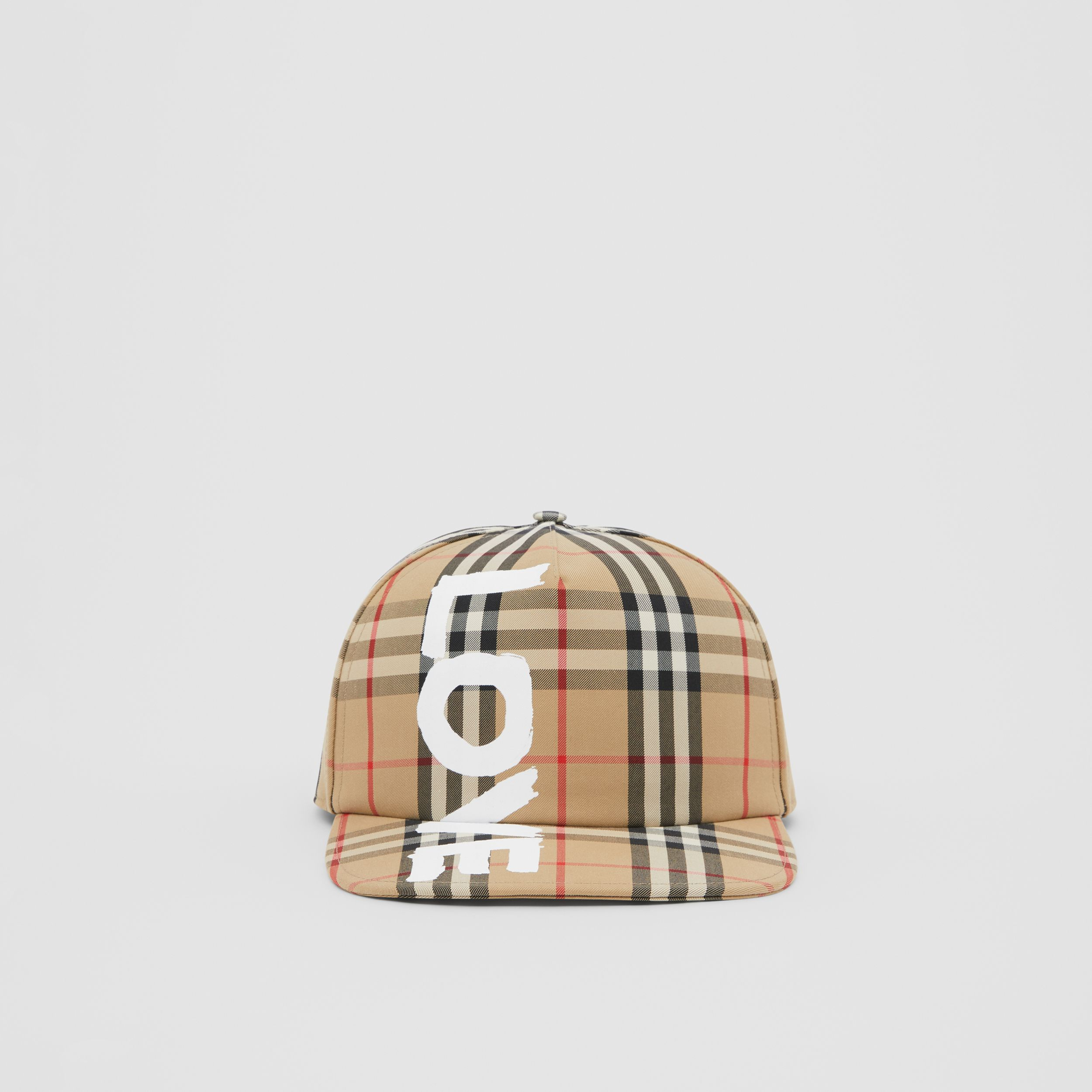 Love Print Vintage Check Baseball Cap in Archive Beige | Burberry - 1