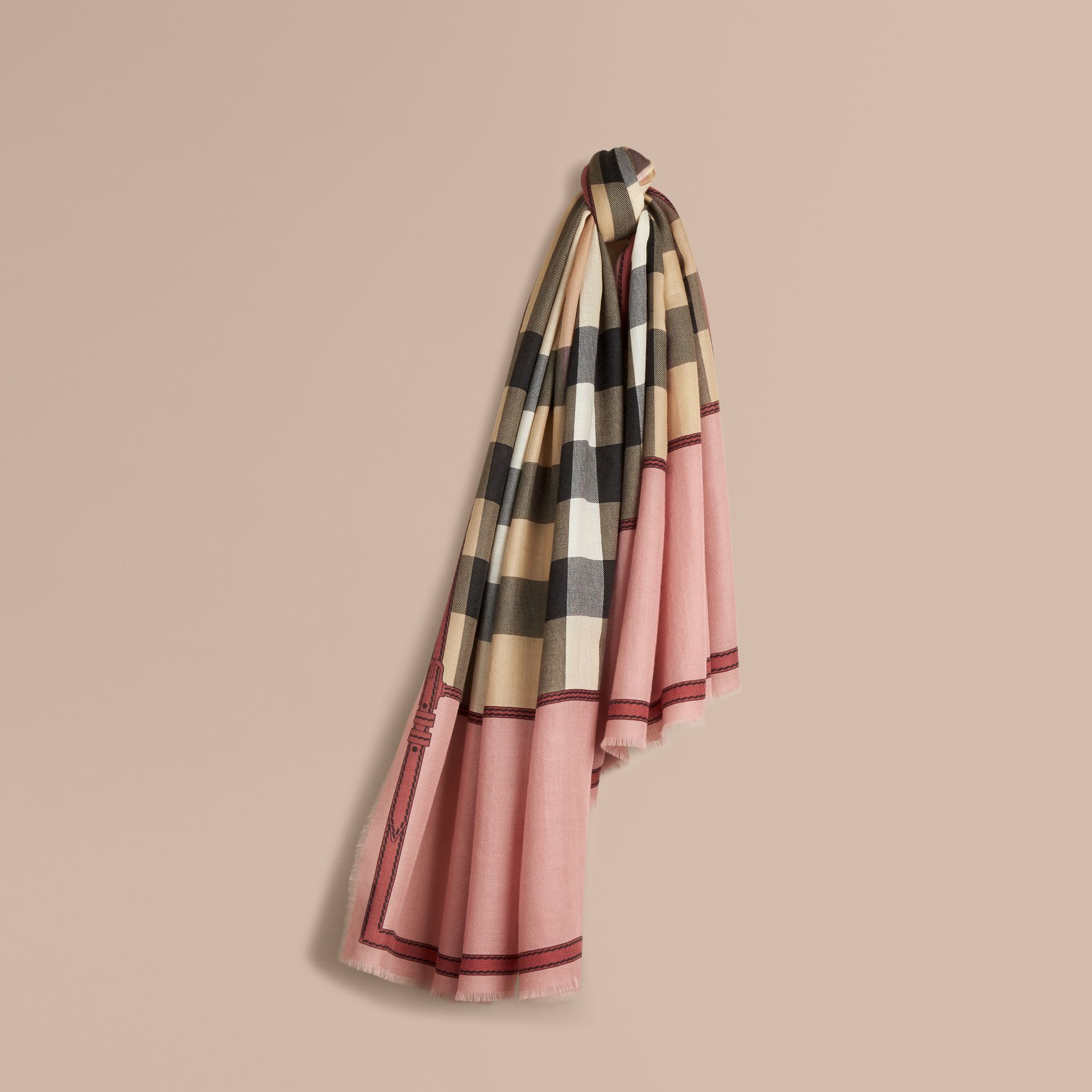 Contrast Border Horseferry Check Cashmere Scarf in Ash Rose - gallery image 1