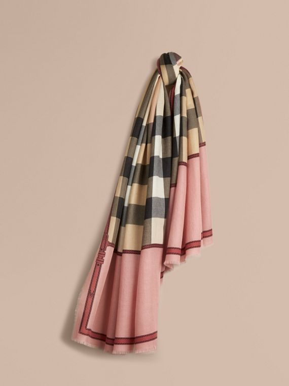 Contrast Border Horseferry Check Cashmere Scarf in Ash Rose
