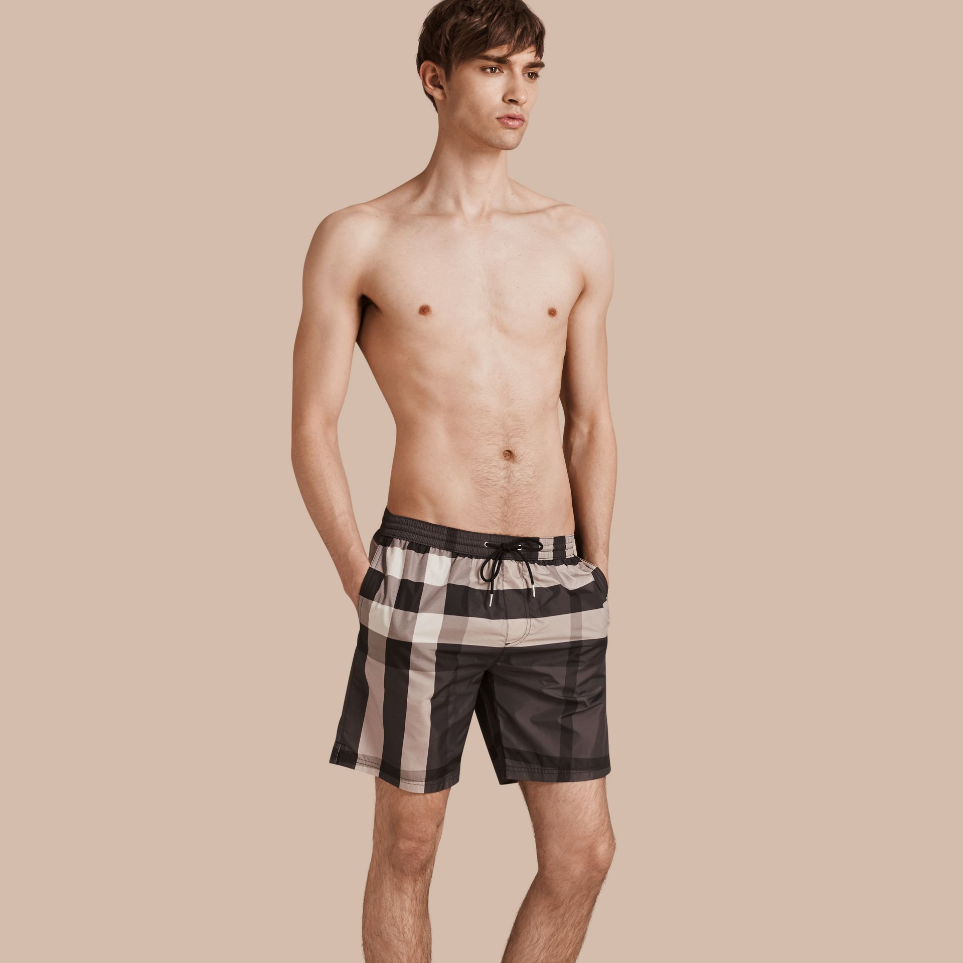 Check Swim Shorts in Charcoal - Men | Burberry - gallery image 1