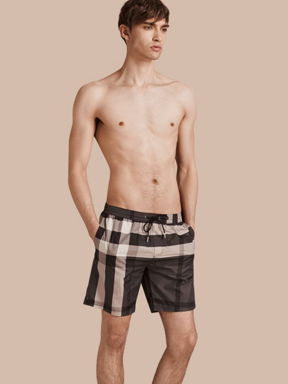 Short de bain à motif check Anthracite