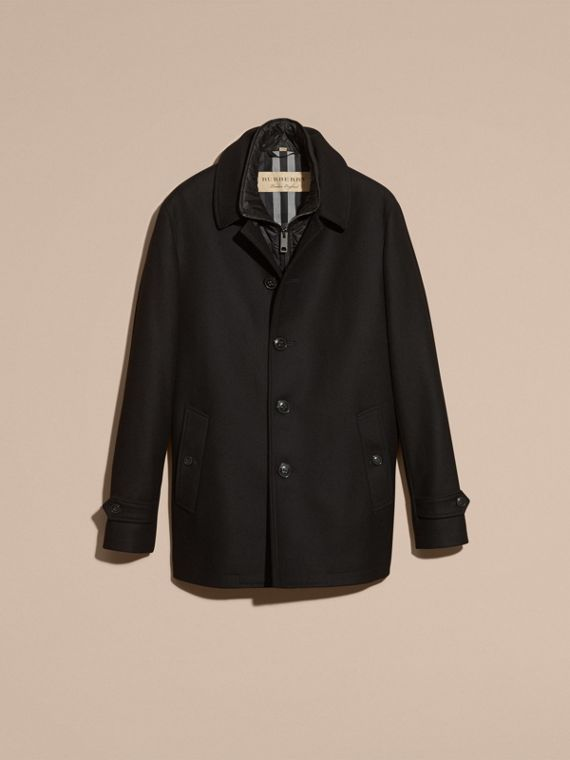 Black Wool Cashmere Blend Coat with Detachable Warmer - cell image 3