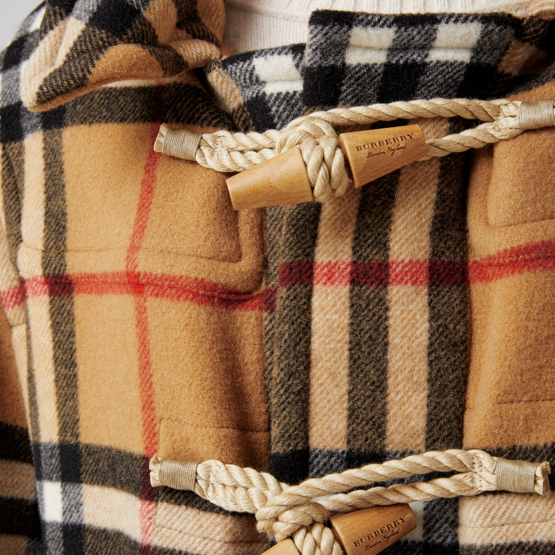 Gosha x Burberry Check Oversized Duffle Coat in Antique Yellow | Burberry - gallery image 7