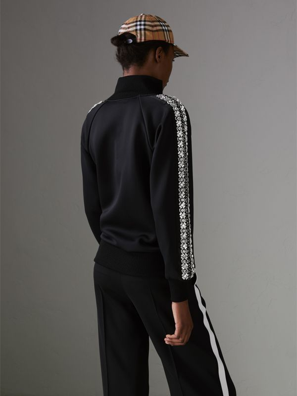 Crystal Detail Jersey Tracksuit Jacket in Black - Women | Burberry - cell image 2