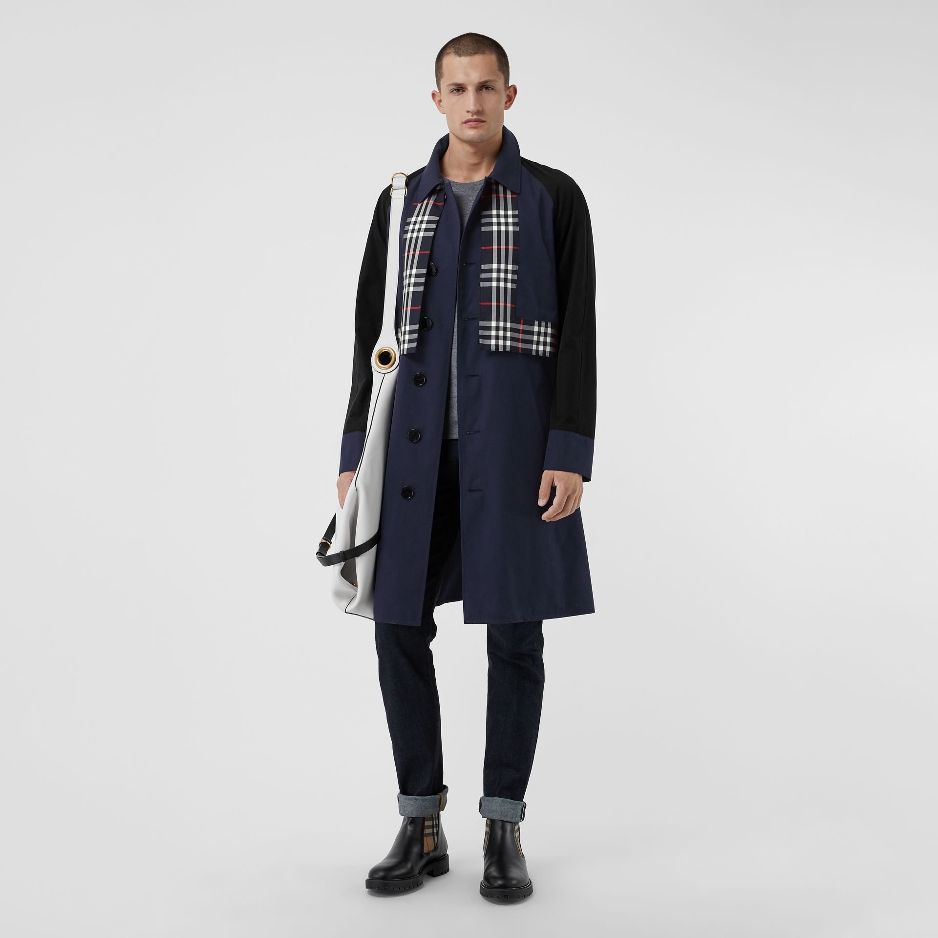 Check Detail Tropical Gabardine Car Coat in Midnight Blue - Men | Burberry - gallery image 0
