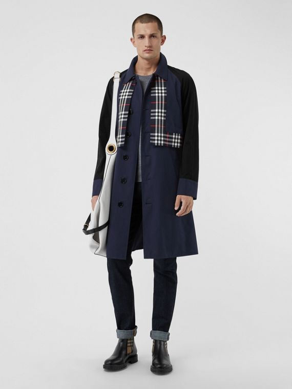 Check Detail Tropical Gabardine Car Coat in Midnight Blue